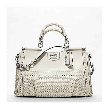 Coach - MADISON WOVEN LEATHER CAROLINE DOWEL SATCHEL - Tassen-mode-nieuws