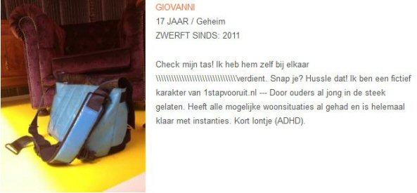 Zwerfnet - Stichting Zwerfjongeren Nederland - Giovanni -  Tassen-mode-nieuws